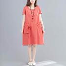 棉麻特殊剪裁蝴蝶結洋裝-中大尺碼 獨具衣格 J2920