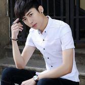 短袖條紋襯衫 夏季休閒襯衣韓版男裝修身寸衣《印象精品》t322