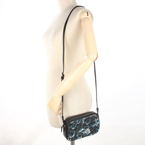 COACH 復古立體玫瑰貼花雙面素色兩用斜背包(銀藍/黑)194233