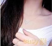日韓甜美生日禮物飾品s925純銀鋯石短款簡約鎖骨愛心吊墜項鏈女