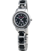 HELLO KITTY 凱蒂貓璀璨晶鑽時尚陶瓷腕錶-黑 LK608LWBA-SB