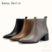 全真皮尖頭中跟短靴 時尚舒適女靴子【Kacey Devlin 】