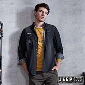 【JEEP】簡約個性牛仔長袖襯衫 (深灰)