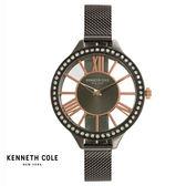 Kenneth Cole 個性黑框水鑽玫瑰金羅馬字鏤空錶盤米蘭帶女錶 39mm KC50184006 公司貨 | 名人鐘錶高雄門市