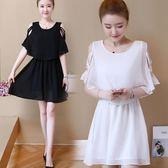 夏季大碼女裝顯瘦遮肚子洋氣假兩件小清新雪紡洋裝 AW1023【棉花糖伊人】