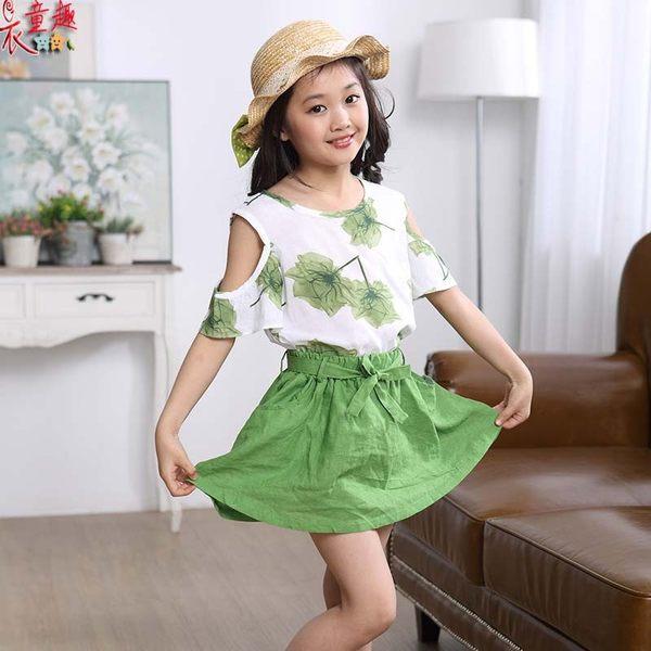 衣童趣 ♥韓版中大女童 露肩短袖裙裝套裝 甜美綁帶蝴蝶結裙子+花朵上衣 套裝