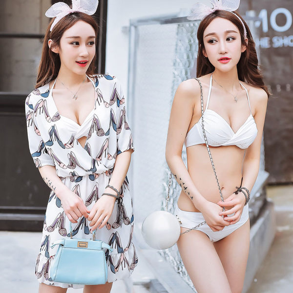 K.J時尚女郎瑪麗黛兒新款泳衣 時尚性感鋼托款分體裙式三件套泳衣 6623