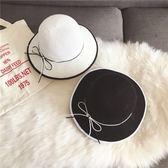 秋季女士針織漁夫帽可折疊輕薄防曬遮陽小禮帽百搭休閑蝴蝶結盆帽·9號潮人館