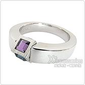 萬寶龍MONTBLANC 壓印LOGO旋轉設計紫藍寶石鑲飾寬版戒指(銀)
