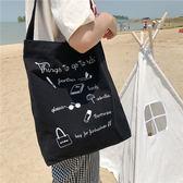 帆布袋 字母 塗鴉 手提包 帆布包 單肩包 環保購物袋--手提/單肩【SPE107】 icoca  09/13