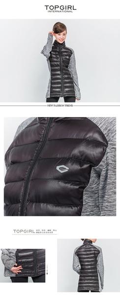 TOP GIRL 拼接鋪棉外套-黑