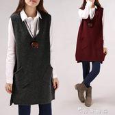 秋冬季V領純色寬鬆口袋毛衣女外套背心馬甲中長款大碼打底針織衫 薔薇時尚