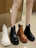 【榮耀3C】切爾西靴 歐貨馬丁靴女2021秋季英倫風厚底切爾西短靴女套筒中筒靴單靴