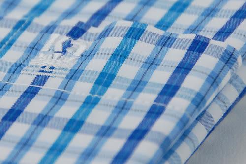 【金‧安德森】藍色小格紋窄版短袖襯衫