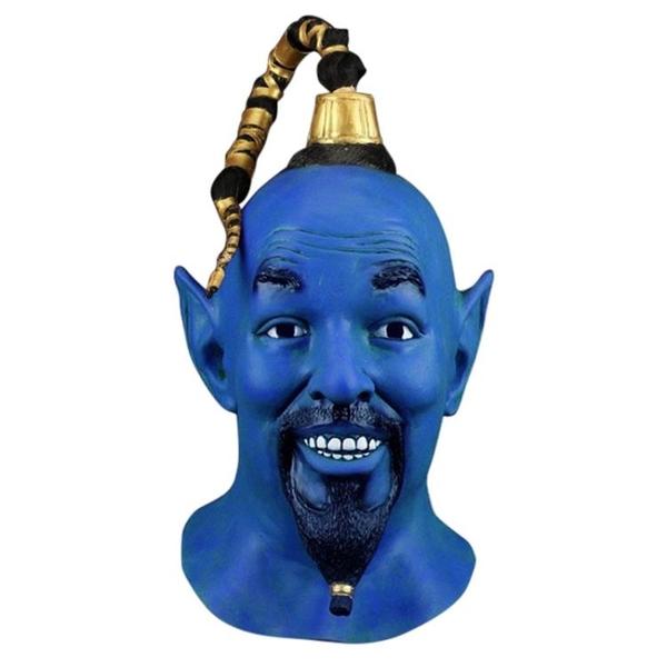 阿拉丁神燈cos 精靈威爾史密斯 藍色cosplay面具頭套面罩頭盔 熊熊物語