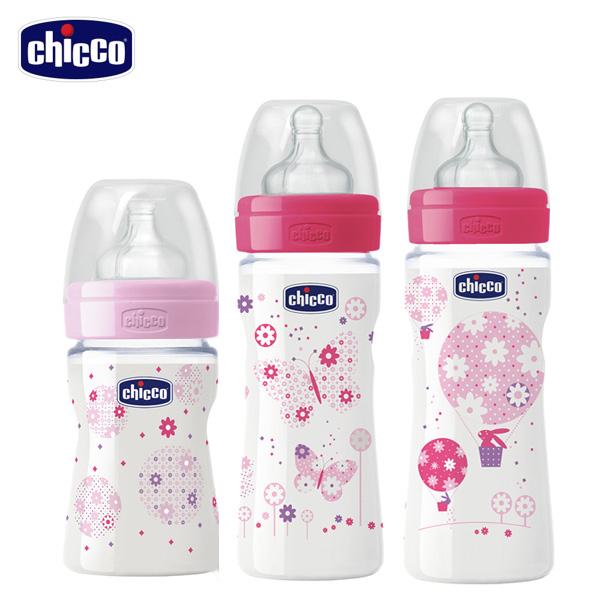 chicco-舒適哺乳-甜美女孩矽膠PP奶瓶3入-150ML+250ml+330ml