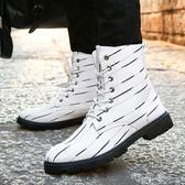 韓版男士高筒工裝短靴潮流厚底個性拼色帆布軍靴男 盯目家