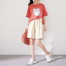 【慢。生活】鬆緊腰紋理棉麻短褲 018  FREE 杏色