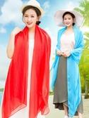 夏天長款圍巾女紗巾紅絲巾百搭超大輕薄款防曬沙灘巾披肩夏季海邊
