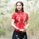 中國風刺繡上衣 原創民族風女裝傳統繡花短袖女 改良上衣T恤