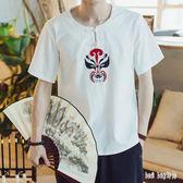 大碼唐裝 短袖t恤男中式盤扣寬鬆純棉臉譜刺繡夏季潮流上衣 QG29283『bad boy時尚』