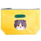【日本製】【ECOUTE!】貓咪系列 貓臉化妝包 收納包 S尺寸 折耳八字貓圖案 SD-3959 - ecoute!