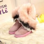 中筒雪靴-時尚保暖仿狐狸毛女厚底靴子4色73kg67【巴黎精品】