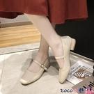 熱賣低跟鞋 2021春季新款復古奶奶鞋粗跟瑪麗珍女鞋豆豆鞋低跟單鞋配裙子的鞋 coco
