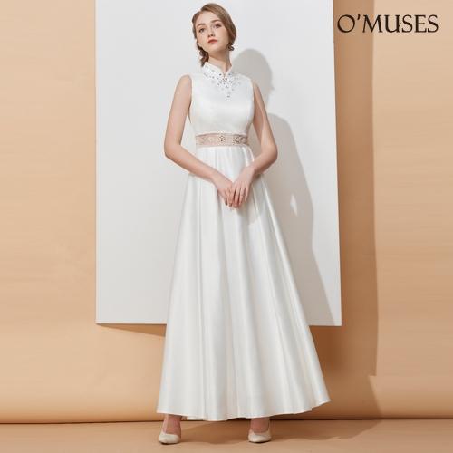 OMUSES 重工珠飾婚紗伴娘白色長禮服