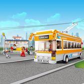 拼裝積木 兒童益智塑料6歲男孩玩具城市巴士拼裝模型