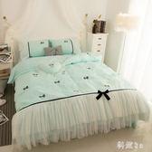 公主風純棉四件套床裙全棉蕾絲邊少女心被套2.0m床上用品 js11078『科炫3C』