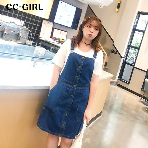 中大尺碼 排扣連身牛仔背心裙 - 適XL~4L《 64516HH 》CC-GIRL