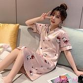 睡裙睡衣女夏季短袖冰絲可愛學生大碼性感中長款絲綢睡裙2021年新款薄 JUST M
