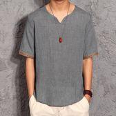 中式棉麻上衣中國風亞麻男士漢服大碼民族風夏季唐裝男青年短袖