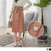 高含棉高腰綁帶合身排釦A字裙 OrangeBear《CA1481》