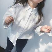 女童白襯衫長袖純棉2018春裝新款兒童裝