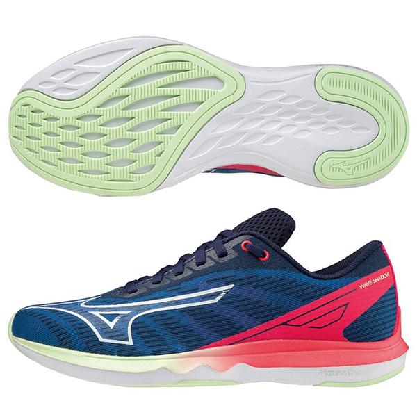 MIZUNO WAVE SHADOW 5 女鞋 慢跑 ENERZY 回彈 推進 藍粉【運動世界】J1GD213087