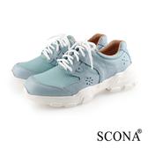SCONA 蘇格南 真皮 休閒拼接舒適老爹鞋 天藍色 7328-1