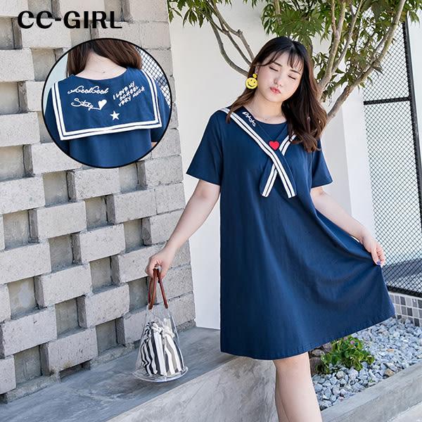 甜美海軍水手服洋裝
