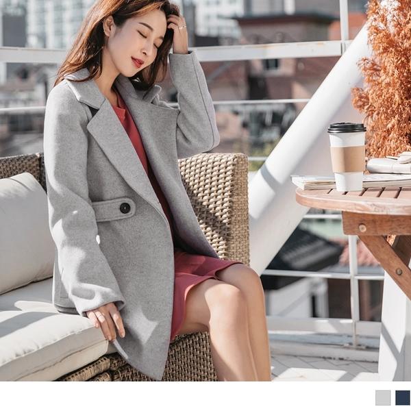 《EA2482-》純色收腰釦條設計毛呢翻領大衣外套 OB嚴選