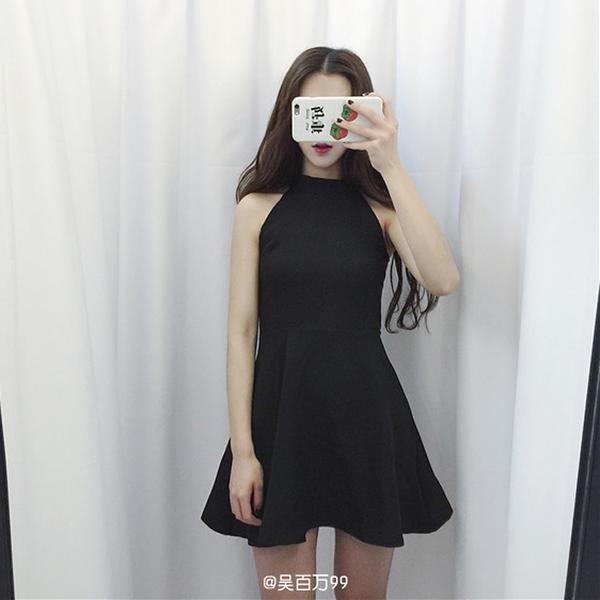 晚禮服 洋裝 掛脖削肩連衣裙 無袖韓版女裝氣質修身黑色顯瘦裙子學生