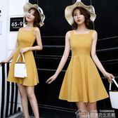 女裝韓版復古小清新高腰露背度假短裙顯瘦吊帶洋裝 居樂坊生活館