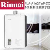 【有燈氏】林內 16L 強制排氣 數位調溫 熱水器 天然 液化 瓦斯熱水器 防空燒【RUA-A1621WF-DX】
