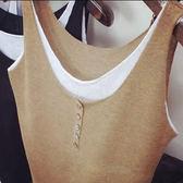 棉麻復古無袖針織薄款寬鬆大碼夏季外穿背心