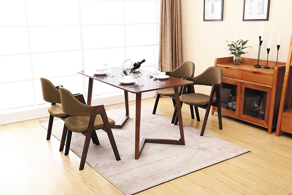 【IS空間美學】風采胡桃色全實木長方桌組 一桌四椅