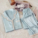 睡衣 M-5XL冰絲睡衣女春夏長袖薄款韓版套裝加大碼仿真絲秋冬季家居服