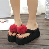 新款創意可愛毛毛兔球拖鞋女外穿高跟人字拖LJ3598『miss洛羽』