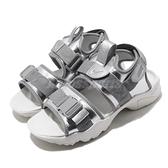 Nike 涼拖鞋 Wmns Canyon Sandal 銀 白 女鞋 金屬色系 魔鬼氈 運動涼鞋 【ACS】 CW6211-001
