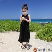 女童連身裙純棉背心長裙沙灘裙兒童吊帶裙子中大童長裙兒童洋裝【淘夢屋】