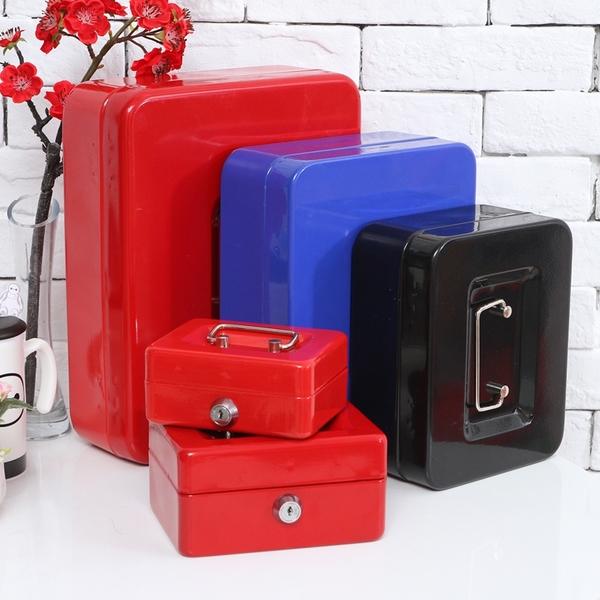 保險箱儲物收銀密碼盒帶鎖鐵盒子手提錢箱桌面收納盒【步行者戶外生活館】